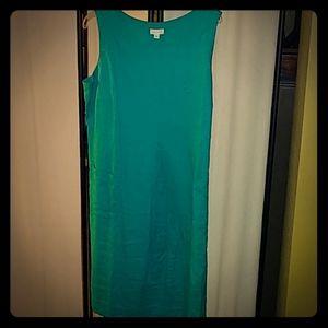 J. Jill green linen dress, sleeveless